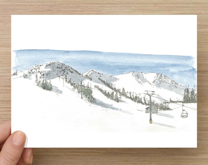 Ink and Watercolor Drawing of Mammoth Mountain Ski Resort in California - Ski, Snowboard, Snow, Sketch, Art, Pen and Ink, 5x7, 8x10