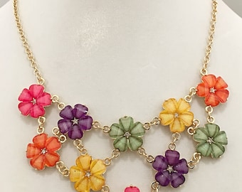 Multi Colored Little Flowers Necklace / Gold Chain Flowers Bib Necklace