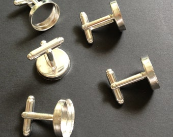 32 pcs Combo (8 pairs) - Silver Plated Brass Round bezel cufflink Blank with Glass tile inserts Cadmium free
