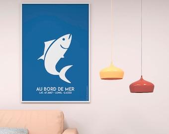 Affiche Poster Poisson Bleu