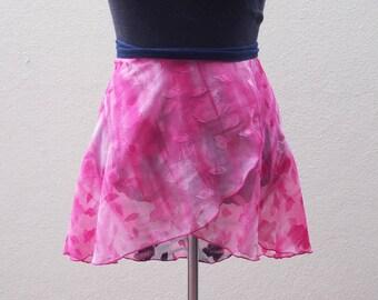 Size XS - Pink ballet skirt - Wrap skirt - Resort Wear - Sarong - Dance Skirt - Ballet crossover skirt - Chiffon ballet skirt