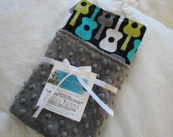 Lovey Security Blanket for Baby or Toddler in Groovy Guitars, You Choose Colors