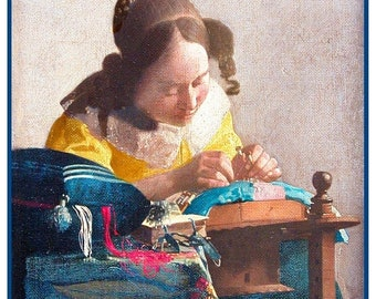 GREAT SALE The Lace Maker inspired by Dutch Artist Johannes Vermeer Counted Cross Stitch Chart