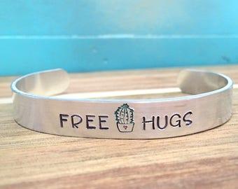 Cactus Cuff Bracelet, Cactus Jewelry, Free Hugs Hand Stamped Bracelet, Southwest Cactus Bracelet, Funny Bracelet, Southwestern Arizona