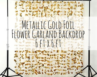 Metallic Gold Flower Wall, Flower Garland Backdrop, Photo Background, wall decor/photo prop/wedding decoration/party decoration/shower decor
