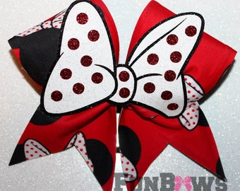 Absolutely AWESOME Minnie Mouse 3-D BOW cheer bow by FunBows !!