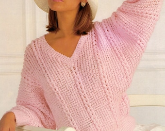 Womens bat wing sweater vintage knitting pattern 30-40 inch DK pdf INSTANT download only batwing
