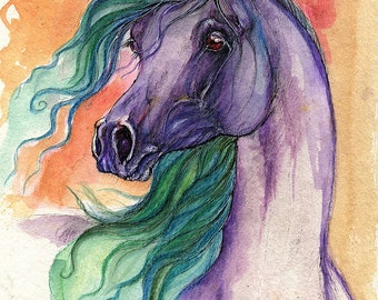 purple horse, equine art, equestrian portrait,  ink and irridescent watercolors original painting