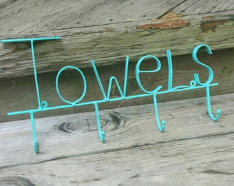 Towel Rack, Beachy, nautical, ocean, cottage, lake house, towel rack. Any color.