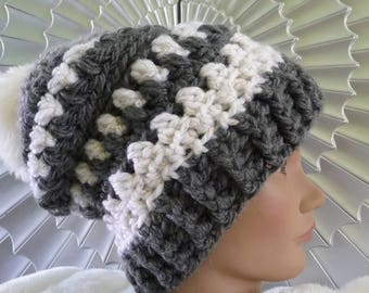 Textured Slouchy Hat with Fur Pompom Ready to Ship