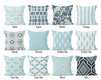 Blue Pillow Cover, Decorative Throw Pillow Covers, Euro Pillow Sham 16 x 16, 18 x 18, 20 x 20, 22 x 22, 24 x 24, 26 x 26