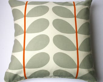 Scandinavian style large stem cushion in orange and grey