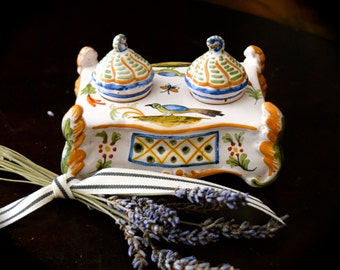 Hand Painted Vintage French Porcelain Inkwell     Sku: C241