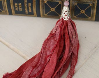 Boho Pink Sari Silk Ribbon Tassel Necklace