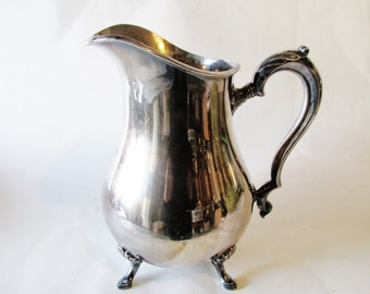 Vintage Silver Water Pitcher, Georgian Court, International Silver, Hollywood Regency, Engraved B Monogram