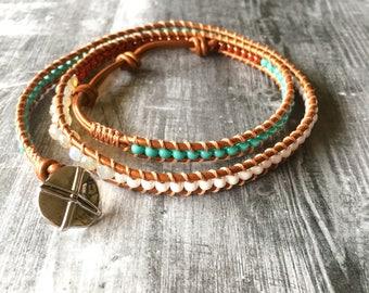 Triple Wrap Bronze Leather Beaded Bracelet