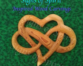 Heart of Infinite Love - Wood carved Heart and Infinity Ribbon Wedding gift - Love Offering