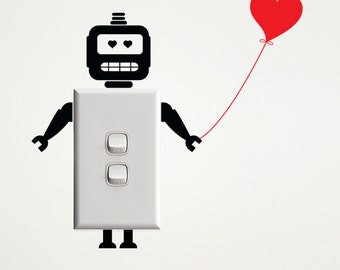 Robot with Heart Wall Decal for Light Switches