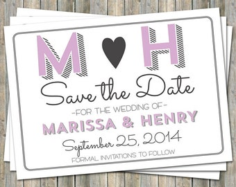 Save the date, initials, Purple and Gray, printable, digital file