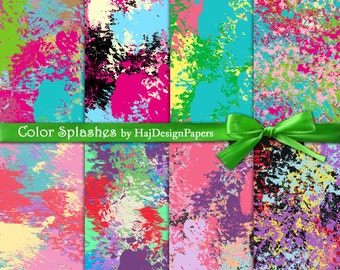 "Paint splashes digital paper : "" Color Splashes "" digital paper with paint splashes in various colors, digital scrapbook paper, patterns"