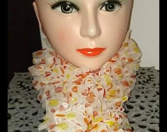 Polka dot ruffle scarf
