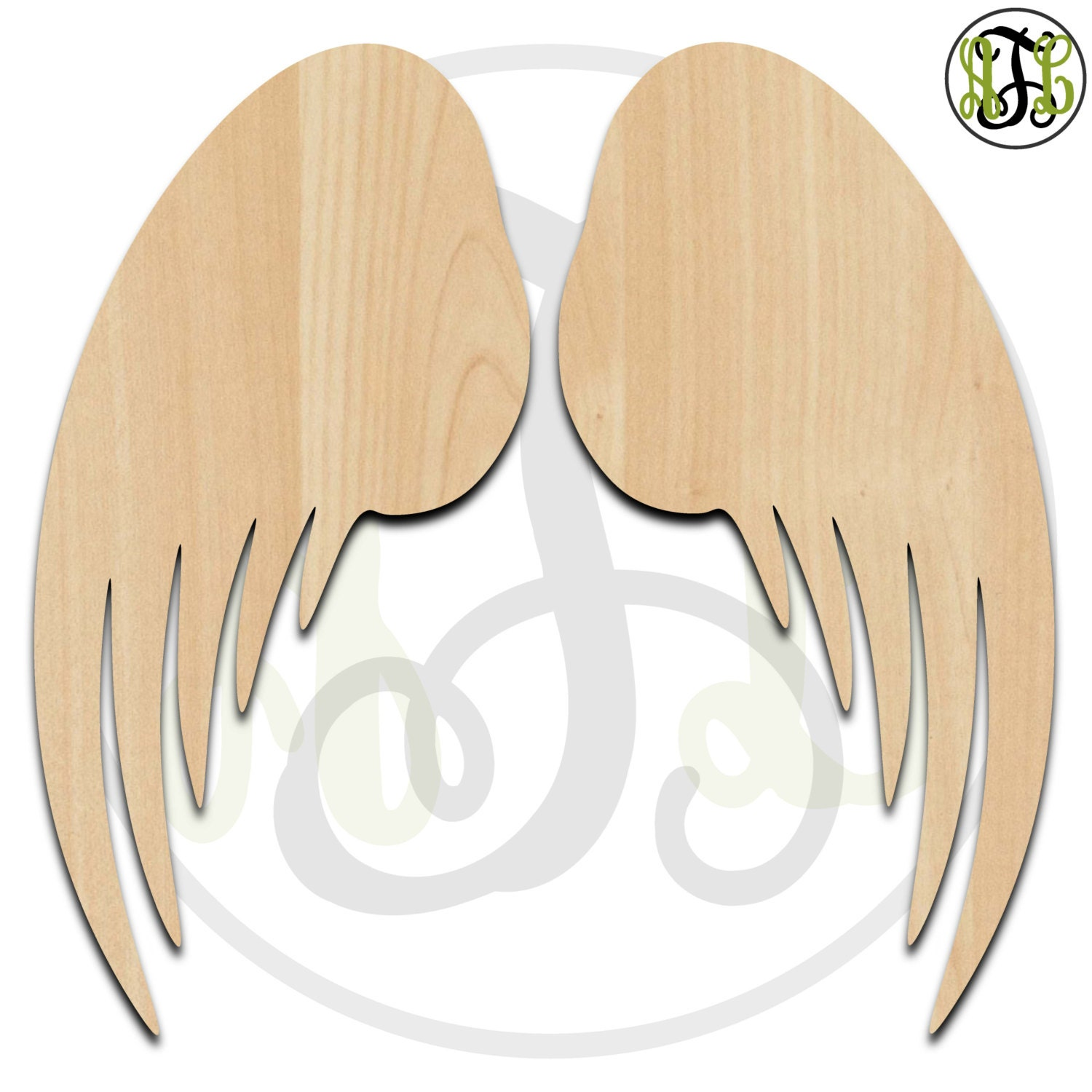 Pair of Angel Wings - 300073- 2 Wing Cutouts, unfinished, wood ...