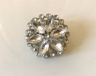 Vintage crystal jewelry starburst brooch pin fashion accessory antique and vintage jewelry sale