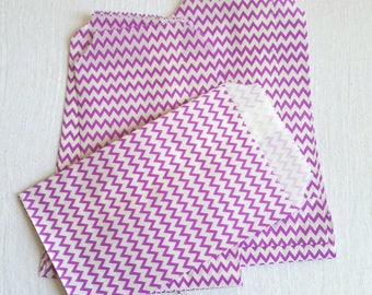 Purple and White Mini Striped zigzag chevron Paper Bag- Gift Bag, Notion Bag, Party Favor, Party Supply, Shop Supply, Treat Bag, Merchandise