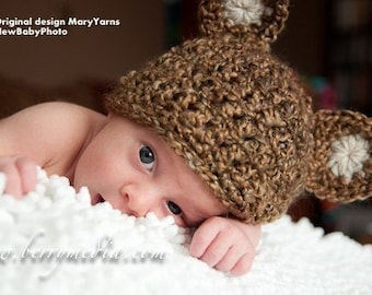 The Teddy Bear HAT in NUTTY or GREEN - Baby Photo prop - Photography Session Newborn Infant