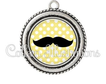 Pendant cabochons 25mm black mustache yellow dots - set 6