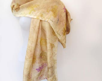 Silk Hand-Painted Leaf Wide Scarf / Shawl or Wrap In Warm Beige With Gold And Other Colors