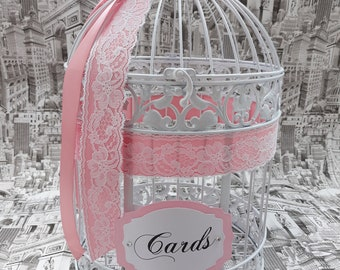 Wedding Birdcage Card Holder,  White and Pink Wedding Card Box, White Lace Wedding Decor, Crystal Money Box