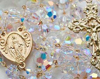 Catholic XL Bead Swarovski AB Crystal Rosary in Gold