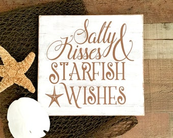 Salty Kisses Starfish Wishes Sign,Nautical Sign,Nautical Home Decor,Starfish Home Decor,Beach Decor Wall Art