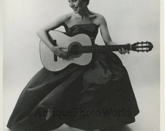 Elly Stone beautiful singer actress with guitar vintage art photo