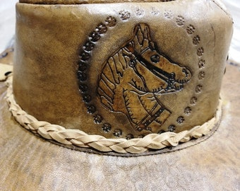 Native American Southwestern Buffalo Leather Hat