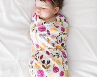 Organic cotton swaddle blanket in Indy Bloom Autumn Blossoms - Fuchsia and Gold Flowers Floral