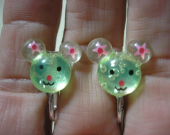 """Play Earring - Clip - Happy Mouse - Clear Green - 5/8"""""""