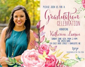 Graduation Party Invitation Floral Graduation.  Graduation Photo Printable Invitation Watercolor, graduation announcement, photo
