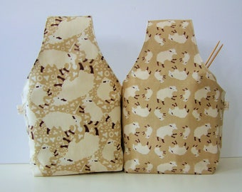 All Around Project Bag Wrist Style Medium Large Size Cute Sheep Sturdy Linen!