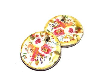 Unusual Floral Ceramic Earring Charms Pair Rustic Stoneware Pottery