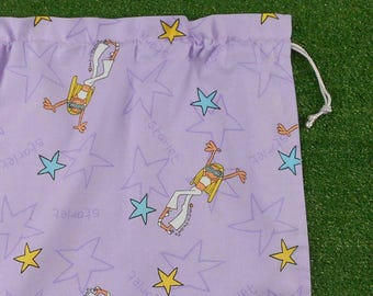 Starlet girl large lilac drawstring bag, large library bag, toy bag or storage bag