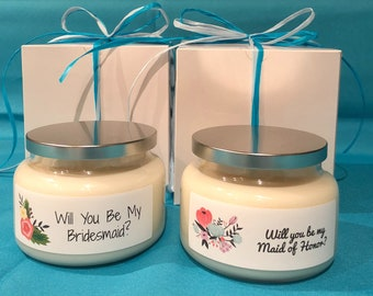 Message Candles: 12 ounce scented soy candle in apothecary jar with lid.