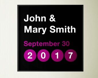 New York City Subway Inspired Wedding, Anniversary or Birth Announcement Print