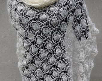 Nature white hand knitted lace scarf Wedding wrap  Bridal shawl Mohair scarf Lightweight shawl hand  knit lace mohair Stola
