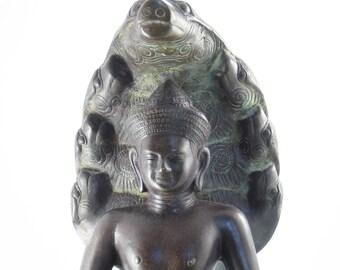 "Large Buddha on Naga Snake Throne - Bronze Buddha Bust, 12"" tall, 17.5 pounds"