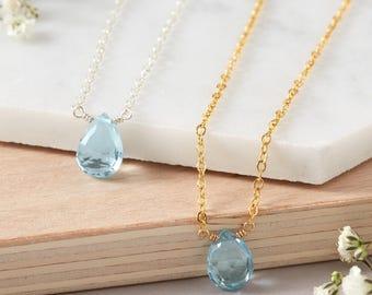 Topaz Necklace, Mystic Blue Topaz Gemstone Necklace, Birthstone Necklace, November Birthstone Necklace, November Birthday, Birthday Present