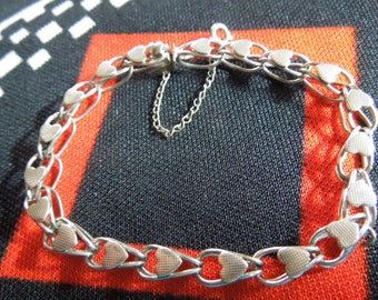 """Sterling Charm Bracelet 7  1/2""""Sterling Silver Fancy Charm Bracelet With Hearts And Safety Chain from Charmhuntress 04965"""