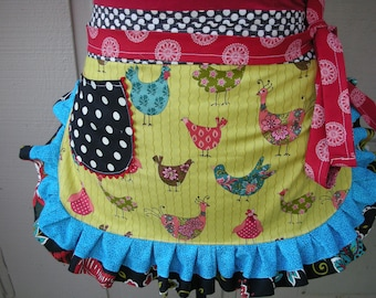 Womens Chicken Aprons - Chicken Fabric Aprons - Black Dots Aprons - Annies Attic Aprons - Red Aprons - Waitress Yellow Chicken Aprons