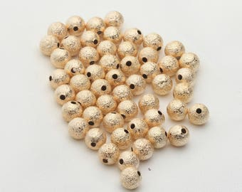 50pcs beads,Matte copper beads, DIY handmade accessories, jewelry design materials, gold loose beads, metal parts.